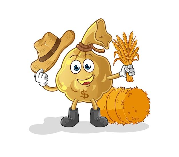 La mascotte del personaggio del contadino della borsa dei soldi