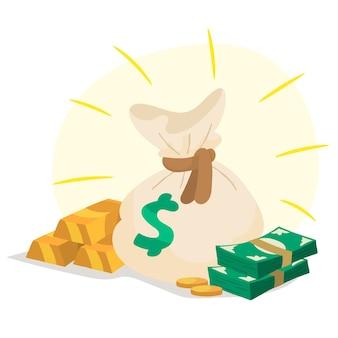Borsa dei soldi piena di monete