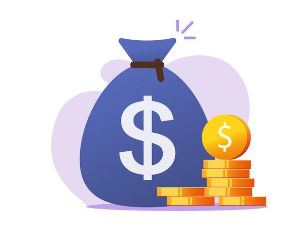 Icona della borsa dei soldi, sacco di soldi con il dollaro