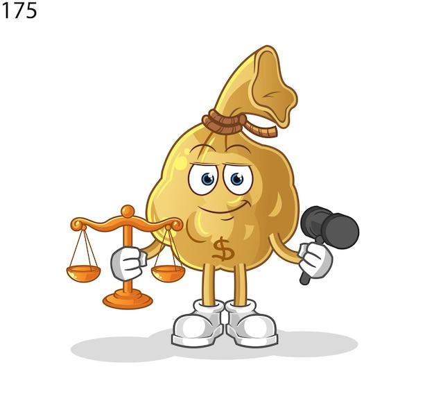 La mascotte del fumetto dell'avvocato della borsa dei soldi. mascotte mascotte dei cartoni animati