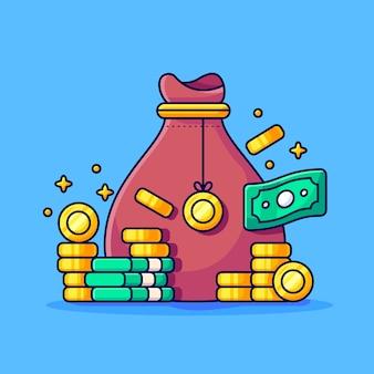 Borsa di denaro e pila di monete d'oro borsa di denaro borsa di monete d'oro icona di affari e finanza isolata