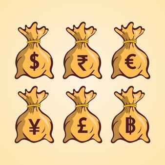 Sacchetto di soldi con diversi simboli di valuta colore illustrazione vettoriale