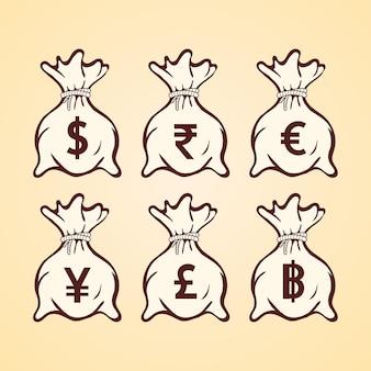 Sacchetto di soldi con diversi simboli di valuta piatta illustrazione vettoriale