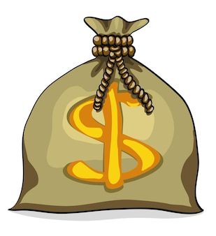 Borsa dei soldi con l'illustrazione di vettore del simbolo del dollaro