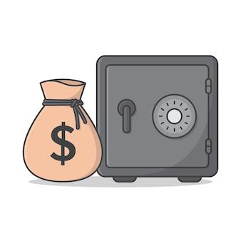 Borsa dei soldi con cassetta di sicurezza isolata su bianco