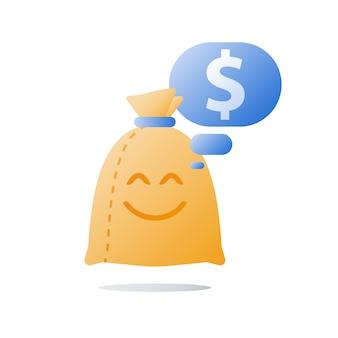 Borsa dei soldi con sorriso, prestito facile, soddisfazione finanziaria, raccolta fondi, crescita del reddito, ritorno sull'investimento, icona