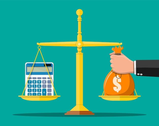 Concetto di equilibrio dei soldi. mano con borsa di denaro, calcolatrice, bilance.