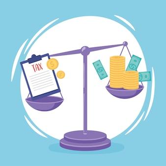 Bilanciamento del denaro con le tasse sulle scale Vettore Premium
