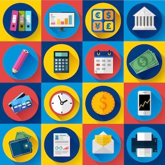 Set di icone di denaro e banca. stile design piatto