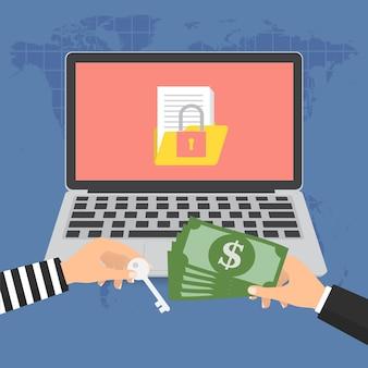 Banconota del denaro per il pagamento della chiave da hacker ransomware Vettore Premium