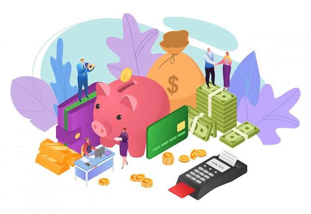 Soldi nel concetto di affari, illustrazione di profitto di finanza. persone di successo investimenti in contanti, ricchezza di monete finanziarie.