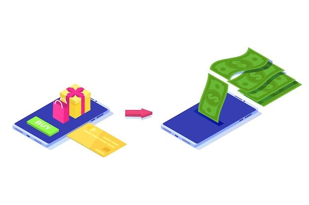 Denaro cash back concept. illustrazione isometrica.