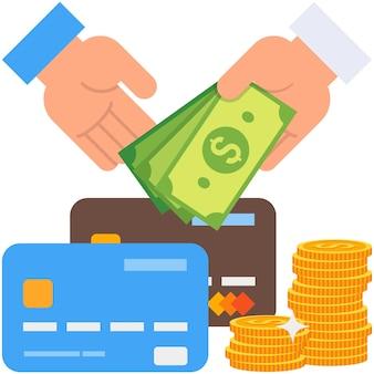 Soldi contanti in mano pila di monete e carta di credito bancaria vettore