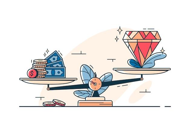 Denaro contante e pietre preziose su scale stile arte linea vettoriale. contanti e gemma sul piatto della bilancia. valore del denaro e idea gioiello. confronto del concetto di prezzo