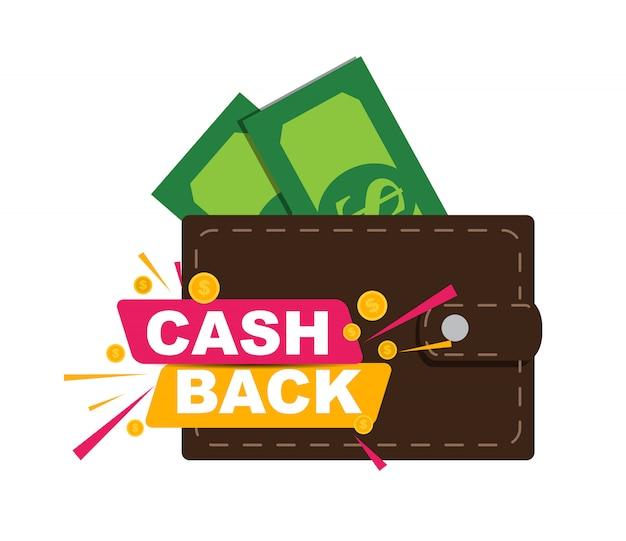 Illustrazione di cashback dei soldi con soldi