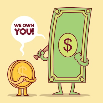 Illustrazione del carattere dei soldi concetto di progetto della moneta della banconota da un dollaro economica di risparmio