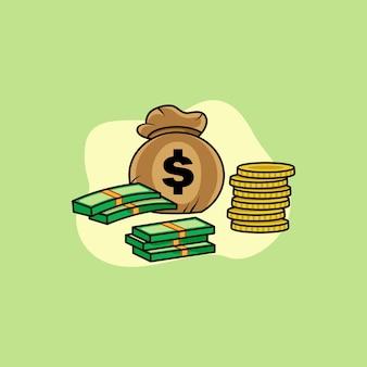 Illustrazione vettoriale di design del logo della mascotte del personaggio dei soldi