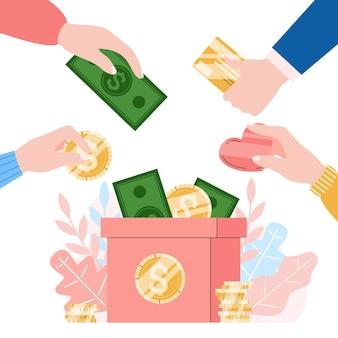 Illustrazione di beneficenza e donazione di denaro