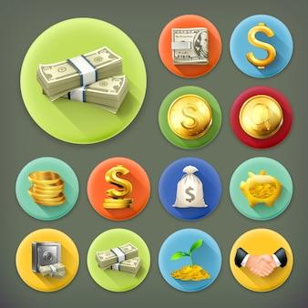Insieme dell'icona di lunga ombra di denaro e monete, affari e finanza