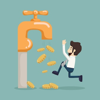 Le monete di denaro cadono dal rubinetto d'oro