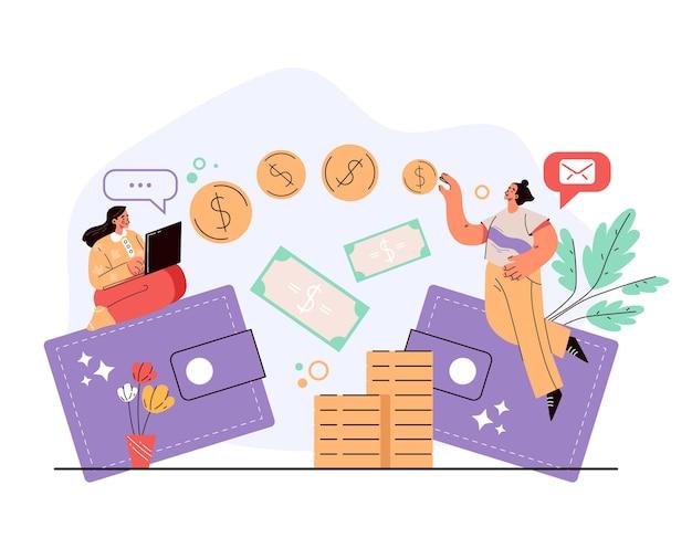 Trasferimento di denaro elettronico digitale online internet dal portafoglio al concetto di portafoglio