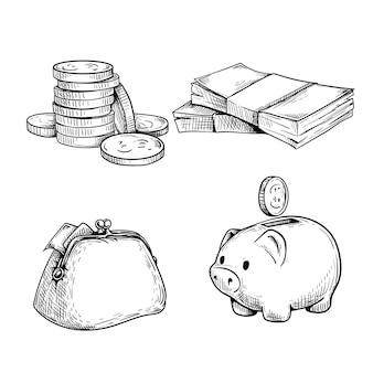 Insieme di abbozzo di denaro e finanza. pila di monete, mazzetta di contanti, portafoglio vintage e salvadanaio con moneta. illustrazione disegnata a mano
