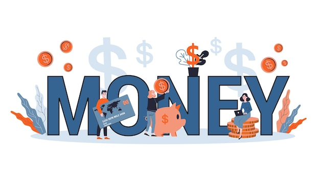 Denaro e concetto di gestione finanziaria. idea di contabilità e investimento. pianificazione finanziaria. illustrazione Vettore Premium