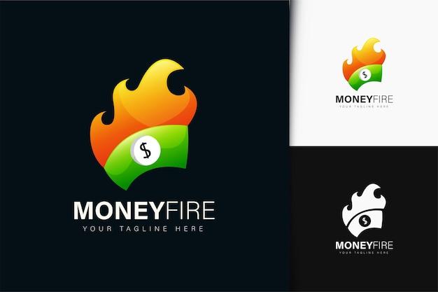 Design del logo del fuoco dei soldi con gradiente