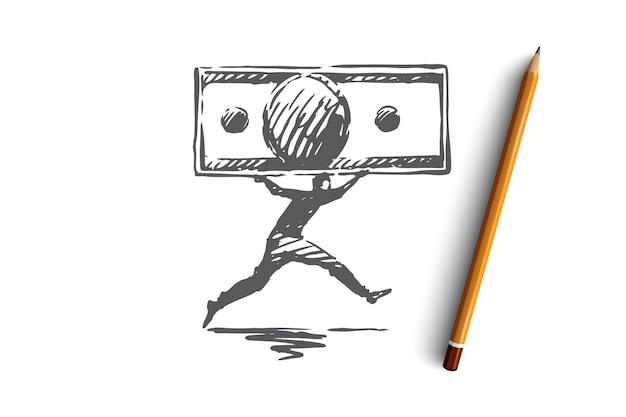 Denaro, flusso, finanza, affari, concetto di ricchezza. uomo disegnato a mano in esecuzione con schizzo di concetto di contanti. illustrazione.