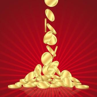Soldi pioggia dorata, monete d'oro che cadono su sfondo rosso.