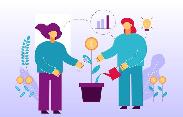 Crescita del denaro. ritorno all'investimento di profitto finanziario. strategia di marketing aziendale di successo, società di promozione pubblicitaria. persone di affari che piantano germoglio di fiore di moneta d'innaffiatura nella progettazione del vaso