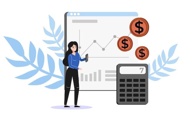 Attrazione di denaro e reddito. donna d'affari che lavora tra calcolatrice, contanti.