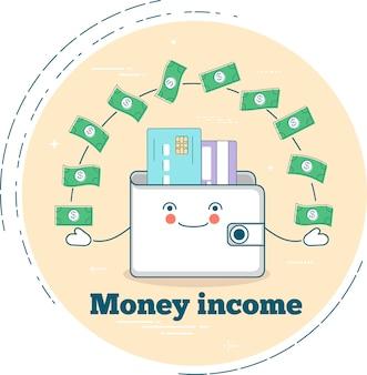 Concetto di reddito di denaro in stile art line