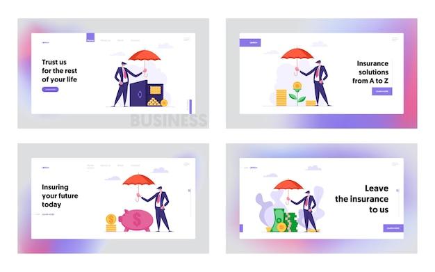 Insieme della pagina di destinazione del concetto di assicurazione dei soldi