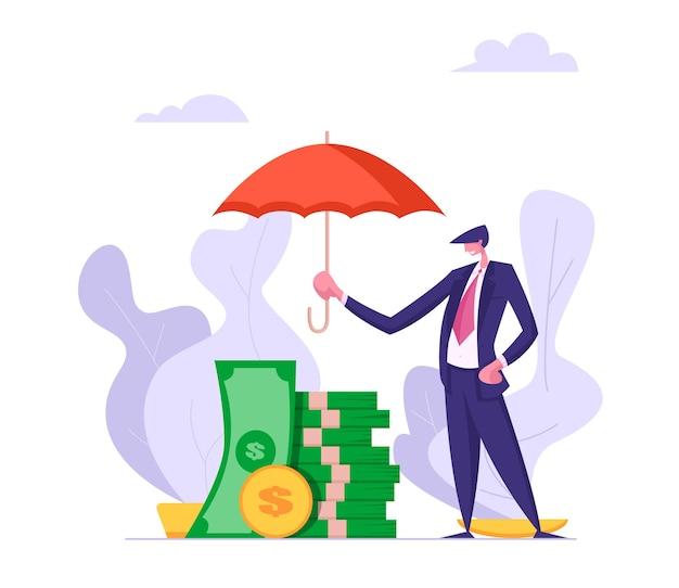 Concetto di assicurazione dei soldi con l'illustrazione dell'ombrello della tenuta dell'uomo d'affari
