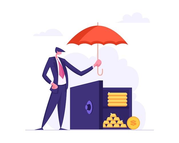 Concetto di assicurazione dei soldi con l'illustrazione dell'ombrello della tenuta dell'uomo d'affari Vettore Premium