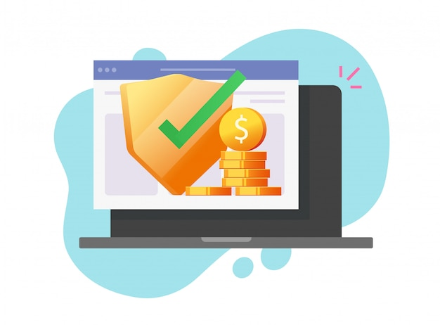 Garanzie online di protezione web finanziaria di vettore digitale di assicurazione dei soldi