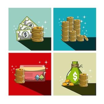 I fumetti di investimento e di soldi in strutture variopinte vector la progettazione grafica dell'illustrazione