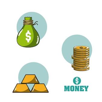 Progettazione grafica dell'illustrazione di vettore di concetto dei fumetti di investimento e dei soldi
