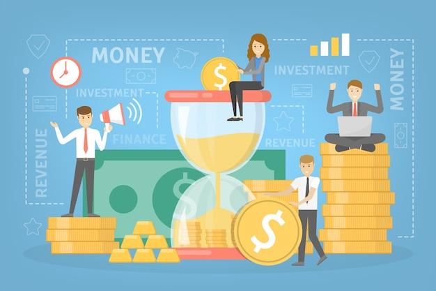 Concetto di investimento di denaro. clessidra come metafora del tempo. le persone investono denaro negli affari e guadagnano in seguito. vector piatta illustrazione