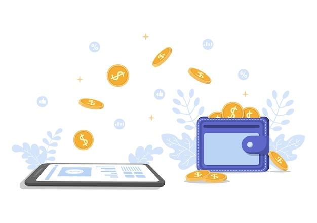 Design piatto di investimento di denaro