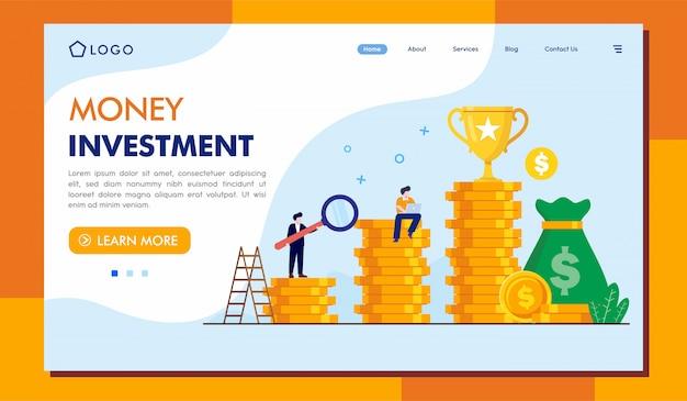 Sito web della pagina di destinazione degli investimenti in denaro