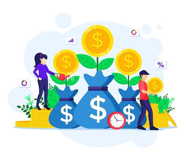 Investimento di denaro, persone che innaffiano l'albero dei soldi, raccolgono monete, aumentano l'illustrazione dei profitti finanziari