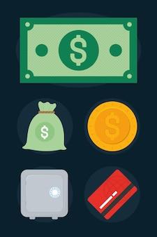 Set di icone di oggetti di denaro