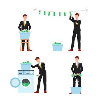 Uomo d'affari del fumetto di riciclaggio di denaro pulizia banconote da un dollaro in contanti in lavatrice