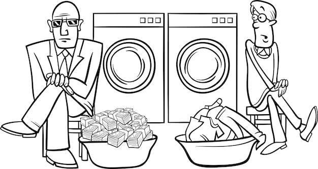 Illustrazione di cartone animato di riciclaggio di denaro