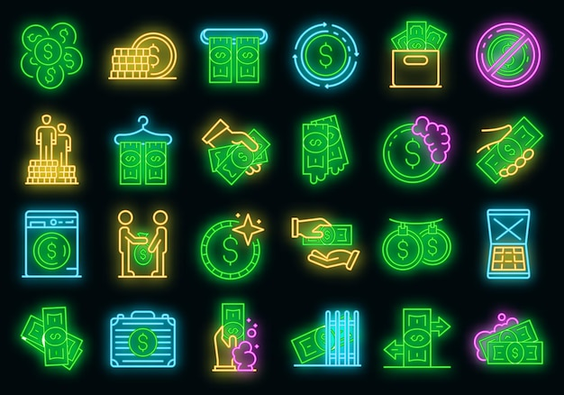 Set di icone di riciclaggio di denaro. delineare l'insieme delle icone vettoriali di riciclaggio di denaro al neon su nero