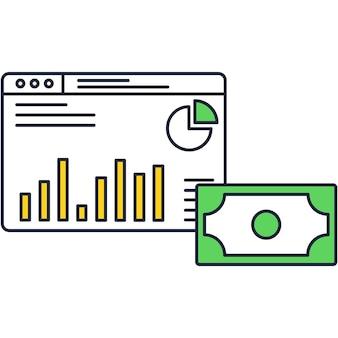 Vettore dell'icona di gestione del denaro per la crescita del business