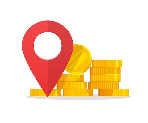 Indicatore del puntatore del luogo del denaro come segno di destinazione della posizione della banca o bancomat