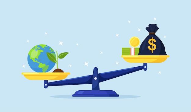 Denaro e pianeta terra su ciotole di scale. borsa dei soldi, pila di valuta ed equilibrio del globo sulle scale. salva, difesa dell'ambiente